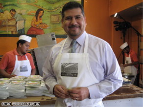 Alonso Arellano in his Nopaltilla factory. He says the demand for these green tortillas is greater than the supply.