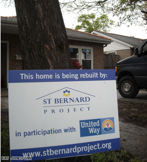 A house in New Orleans being rebuilt with help from the St. Bernard Project.