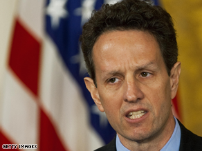 Treasury Secretary Timothy Geithner told CNN Thursday his department asked Sen. Chris Dodd to include a loophole in the stimulus bill allowing bonuses to be paid.