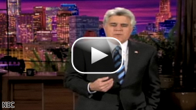 Tonight Show host Jay Leno spoofs the anchors of CNN's American Morning.