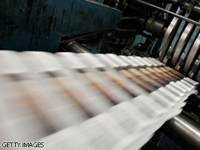 More bad news for the newspaper industry, as President Obama's top aides signal it will not be getting a government bailout.