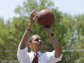In his remarks, President Obama seized on Eric Holder's casual declaration in December that the president-elect might not be able to compete with him in roundball.