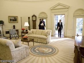 The current Oval Office rug cost over $60,000 and was designed by former first lady Laura Bush.