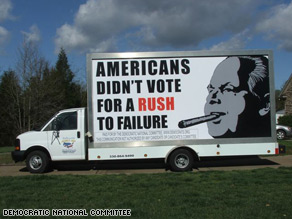The DNC's traveling billboard makes its first appearance Tuesday in West Palm Beach, FL.