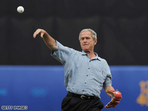 Former President George W. Bush will throw out the ceremonial first pitch next week at the Texas Rangers' home opener against the Cleveland Indians.