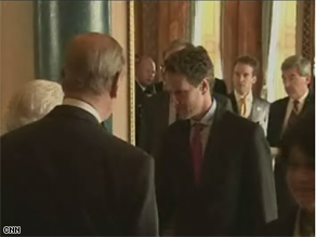 U.S. Treasury Secretary meets Queen Elizabeth II in London.