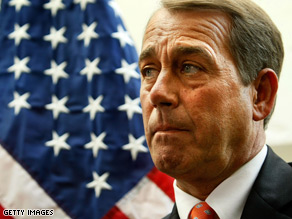 Boehner said he was concerned the president seemed to 'place equal blame on the Israelis and the Palestinians.'