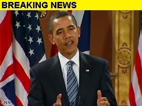 President Obama holds a joint news conference with British Prime Minister Gordon Brown in London.