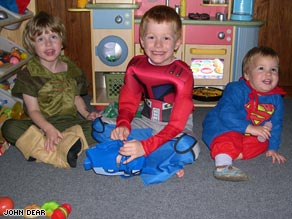 Jonas, 3 (left), Magnus, 6, and Rasmus, 3