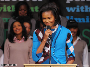 Michelle Obama got the rock star treatment at an all-girls school in London.
