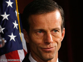 Republican John Thune, pictured in this file photo, set aside partisan differences and joined forces with Democratic lawmakers to win a charity basketball game in Washington.