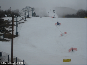 A view from the base of the Mont Tremblant ski resort in Canada.