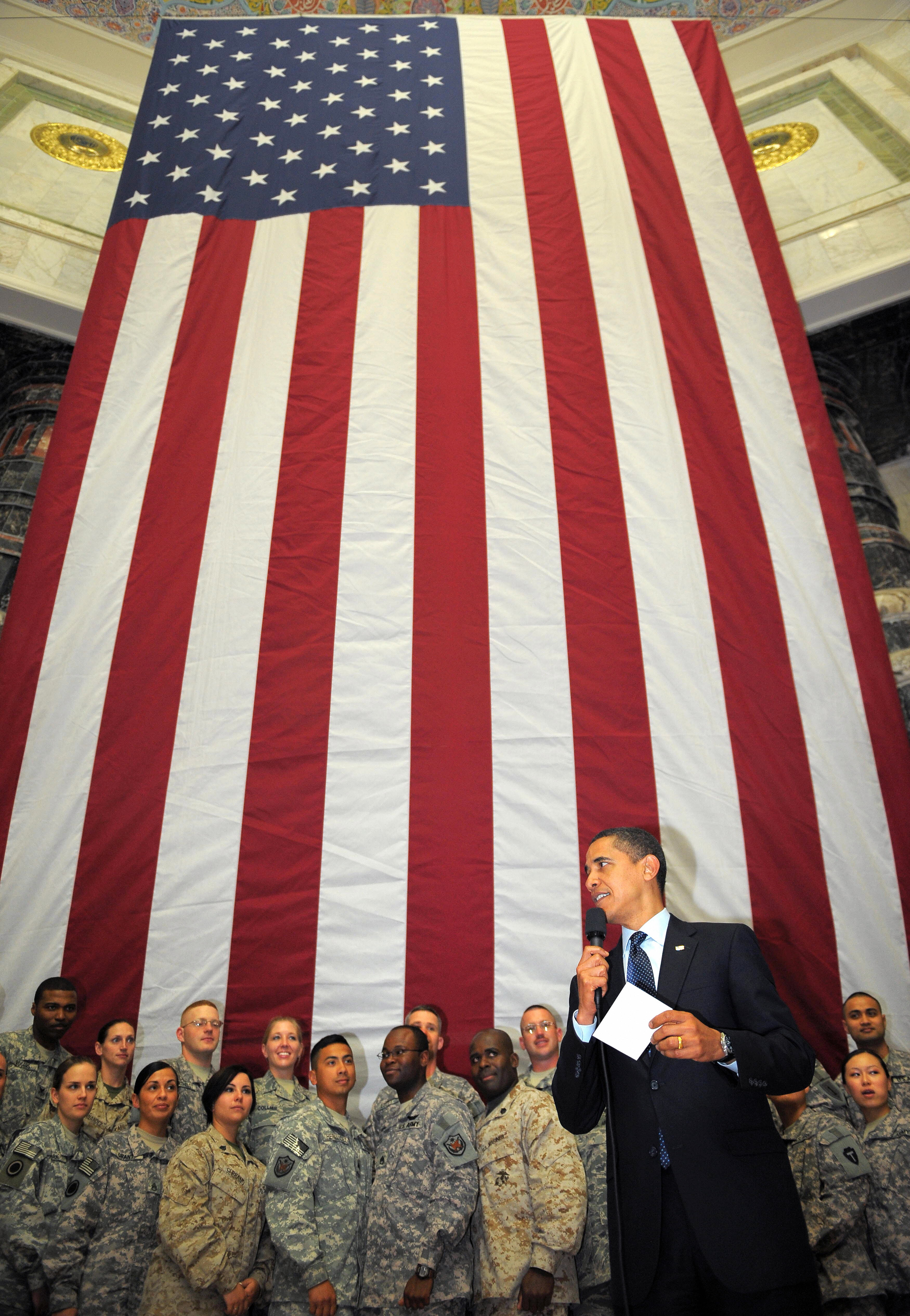 MANDEL NGAN/AFP/Getty Images. US President Barack Obama speaks during a visit to Camp Victory in Baghdad, Iraq.