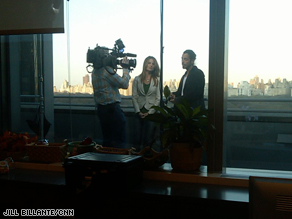 Chris Cornell is interviewed in the AC360° newsroom in the Time Warner Center.