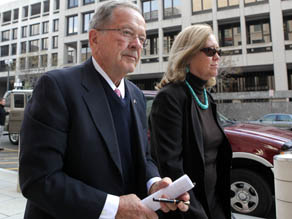 Former U.S. Sen. Ted Stevens and his wife Catherine outside the federal courthouse on Tuesday in Washington, DC