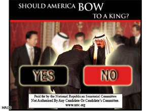 The NRSC has unveiled an ad that accuses the president of bowing before the Saudis.