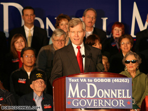 Republican Bob McDonnell, pictured, is running against Democrat Creigh Deeds in the Virginia governor's race.