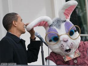 The president shares a moment with the Easter Bunny at todays White House Egg Roll.