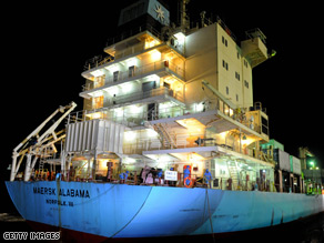 The US-flagged container ship Maersk Alabama and its American crew, seized by Somali pirates, docked Sunday in Kenya.