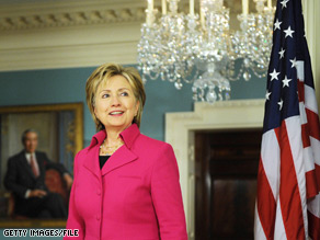 Hillary Clinton pledged $57 million in U.S. aid to boost Haitian security, build roads, create jobs, fight drug trafficking and help Haiti with food shortages and debt.