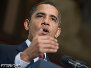 President Obama speaks on the economy at Georgetown University in Washington, DC, on April 14, 2009.