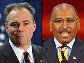 Tim Kaine, left, and Michael Steele are the heads of the DNC and RNC respectively.