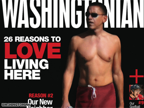 A shirtless Obama is on the cover of Washingtonian Magazine.