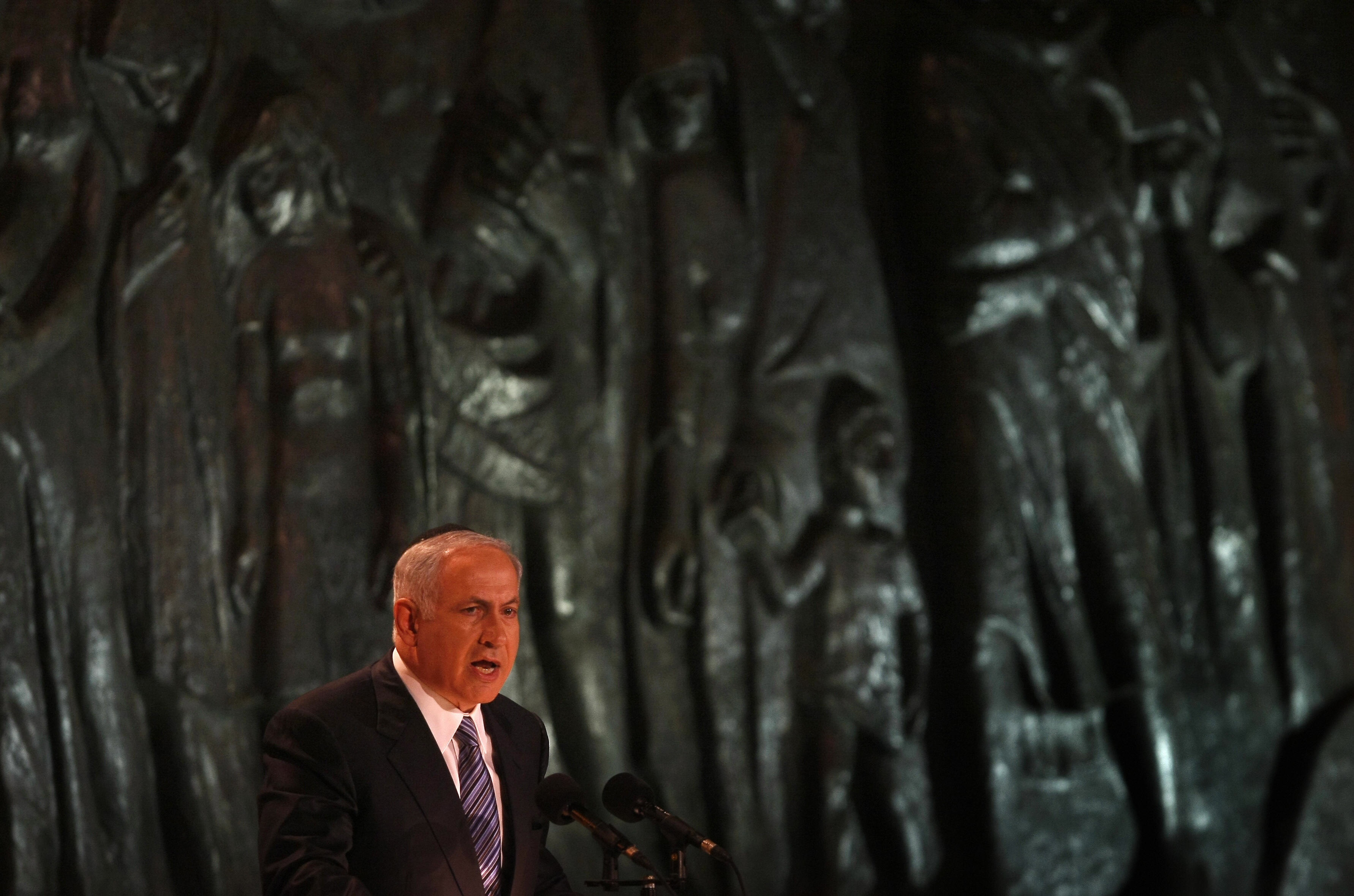MENAHEM KAHANA/AFP/Getty Images. Israeli Prime Minister Benjamin Netanyahu speaks at the opening ceremony of the Holocaust Remembrance Day at the Yad Vashem Holocaust national memorial in Jerusalem, on April 20, 2009. Israel began marking Remembrance Day at sundown with a ceremony to the six million Jews killed by the Nazis during World War II. More than 230,000 Holocaust survivors currently live in Israel, according to estimates by advocacy groups.