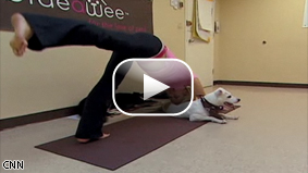 CNN's Lola Ogunnaike reports on a new trend that combines yoga and man's best friend.