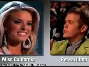 Carrie Prejean and Perez Hilton are prominently featured in a new ad from the National Organization for Marriage.