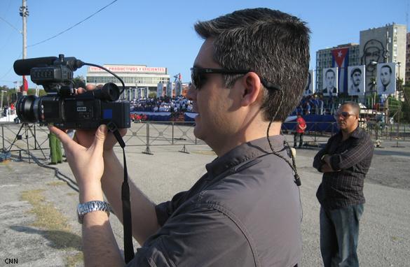CNN's Jim Acosta with video camera in Havana, Cuba.