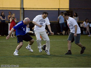 UN Secretary General Ban Ki Moon plays soccer with other world diplomats on Saturday in New York City.