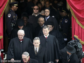 Members of the Supreme Court, including Justice Souter, arrive for President Obama&#039;s inauguration.  Who might Obama pick to replace Souter who is reportedly retiring from the Court?