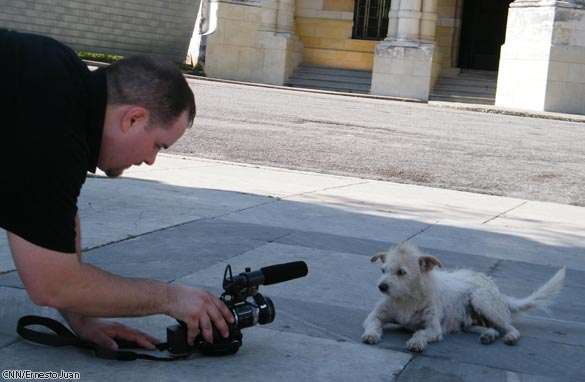 CNN Producer Eric Marrapodi photographs a stray dog in Havana, Cuba.