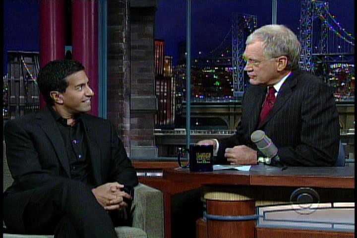 Dr. Sanjay Gupta and David Letterman.