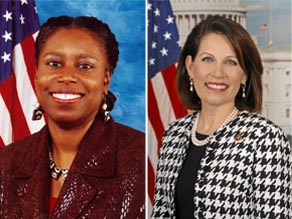 Former Rep. Cynthia McKinney (L) and current Rep. Michele Bachmann (R).
