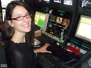 CNN's Caroline Gottlieb sits in the back row of the control room, checking banners and ordering graphics throughout the show.