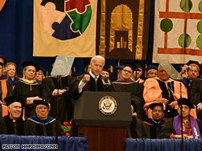 Vice President Biden spoke Sunday at Syracuse University's graduation ceremony.