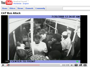 Surveillance footage of the moments leading up to a crime committed on a public bus, posted by the Las Vegas Police Department.