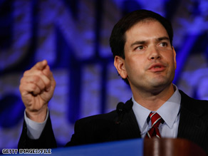 Florida Republican Marc Rubio responded quickly Tuesday to Florida Gov. Charlie Crist&#039;s announcement that he, like Rubio, is running for Florida&#039;s open Senate seat in 2010.