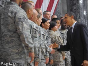 President Obama greets troops during a visit to Camp Victory in Baghdad, Iraq on April 7, 2009.