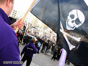 Supporters of the web site 'The Pirate Bay' demonstrate in Stockholm, on April 18, 2009.