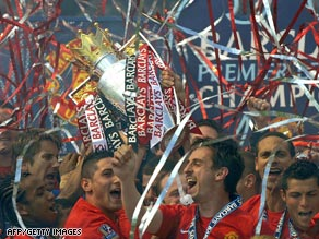 The Manchester United Saturday team celebrate their third successive Premier League title.
