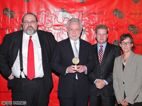 CNN Washington Bureau Chief David Bohrman, anchor Wolf Blitzer, Political Director Sam Feist and Vice-President of Special Events Jane Maxwell receive CNN's Peabody Award for 2008 campaign coverage.