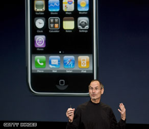 Apple CEO Steve Jobs introduces the iPhone software developers kit, March 6, 2008.