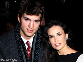 Ashton Kutcher and Demi Moore at a UK film premiere in November 2008.