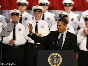President Obama at the graduation of police recruits in Columbus, Ohio.