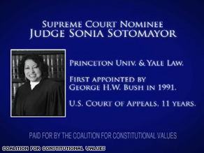 A new ad backing Sotomayor was ready less than a day after her nomination was announced.