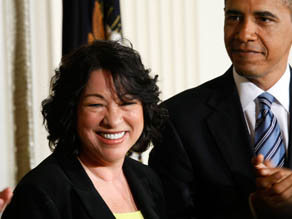 Judge Sonia Sotomayor with President Barack Obama after announcing her as his Supreme Court nominee