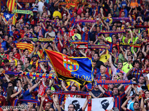 Barcelona fans proudly display their club colors in Rome.